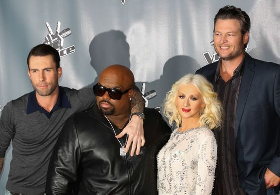 """One big happy family. Coaches Adam Levine, Cee Lo Green, Christina Aguilera, and Blake Shelton arrive at """"The Voice"""" season five Top 12 event on Nov. 7 in Universal City, Calif.:"""