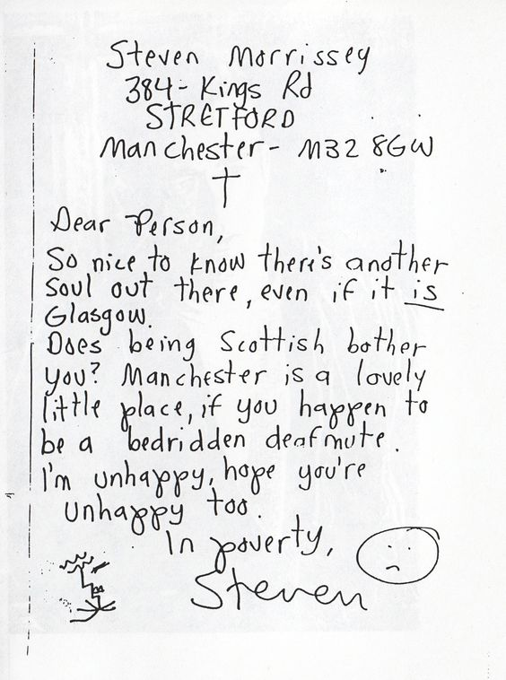 Morrissey's first letter to pre-Smiths pen-pal
