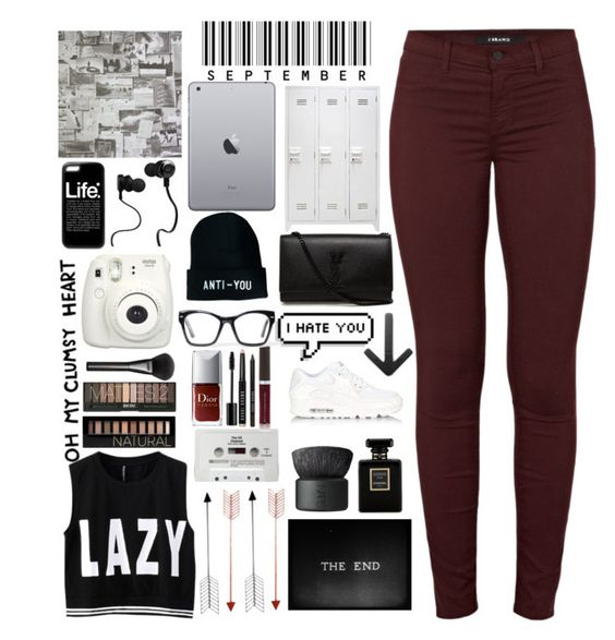 """Lazy, not cool for school"" by karolinaaa14 ❤ liked on Polyvore featuring Again, Bend, NIKE, Chanel, NARS Cosmetics, CASSETTE, J Brand, Forever 21, Gucci and Bobbi Brown Cosmetics"