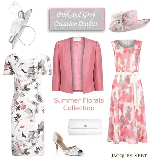 Pink and Grey Shift Dress Matching Jacket and Occasion Coats