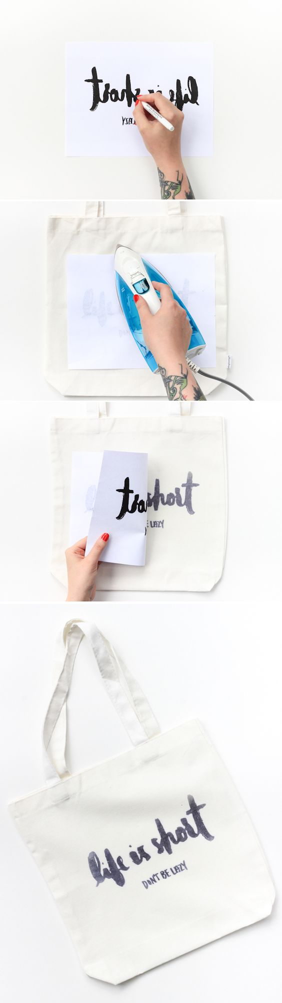 Learn how to make this DIY Iron Transfer Tote in only 20 minutes!: