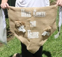 """""""Here Comes the Bride"""" Burlap Sign"""