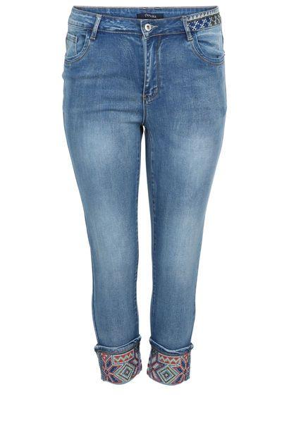 Jeans brodé dans le bas - Denim