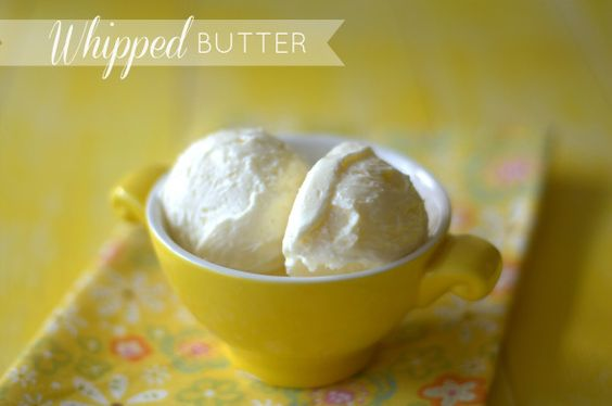 Whipped Butter :: A yummy accompaniment to any baked good. Also economical as the butter expands in volume by 1/3--Great for when serving a crowd!