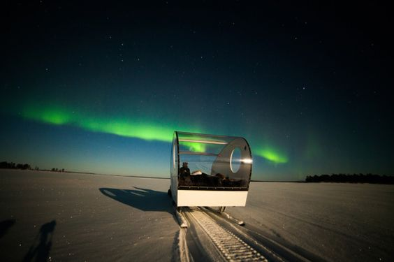 (Credit: The Aurora Zone) Incredible Ways To See The Northern Lights:  Stay toasty in a heated sleigh (Sledding is one of the coolest things you can do in the Arctic but it gets super chilly at night. The Aurora Zone's Heated Aurora Sleighs allow you to spend the night hunting the Northern Lights while staying warm. Available in the tiny and remote village of Nellim, Finnish Lapland, the sleighs are pulled by snowmobiles and feature heating, cosy seating and transparent walls with plenty...)