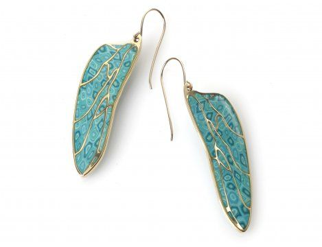 Turquoise Dragonfly wings earrings by Adina Plastelina.