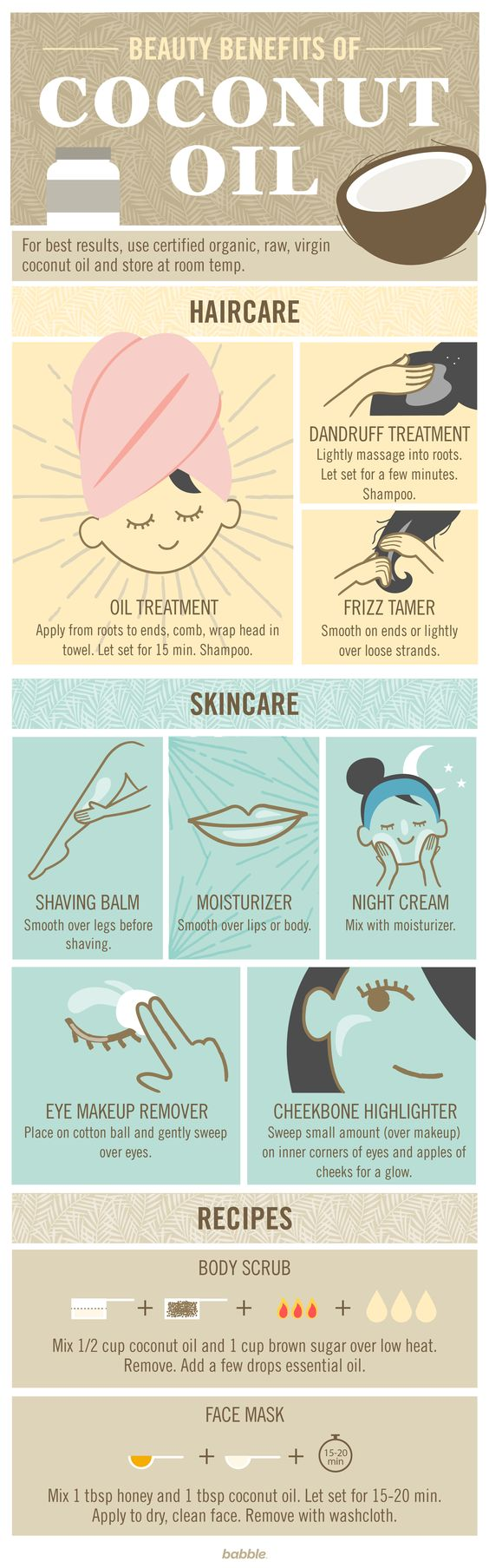 Coconut oil is everywhere right now. You don't know whether to eat it, drink it, or bathe in it. Try these great beauty uses for coconut oil tonight, from skincare to haircare to DIY beauty products.: