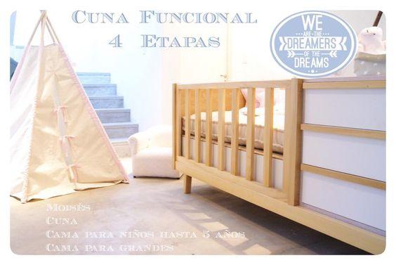 Cuna funcional - 4 funciones (moises, cuna, camita hasta 4 años, cama 1 plaza)