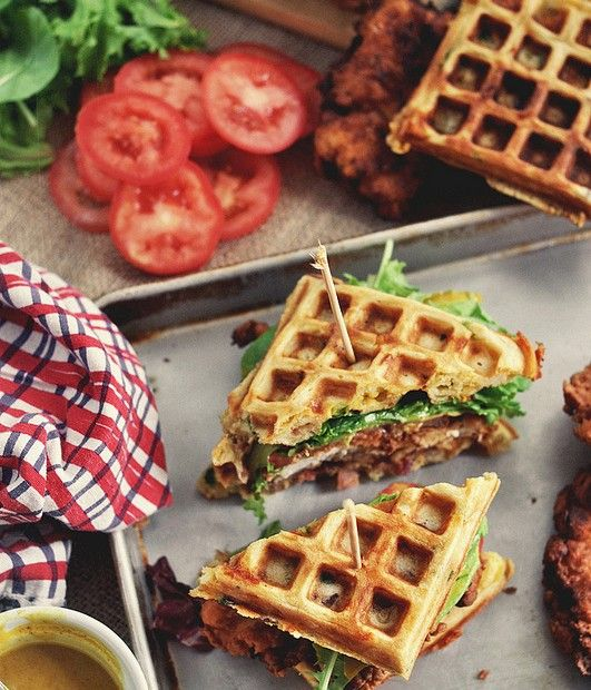 Chicken and Waffle Sandwiches, with Bacon, Cheddar, and Green Onion {via Bon Appetit}