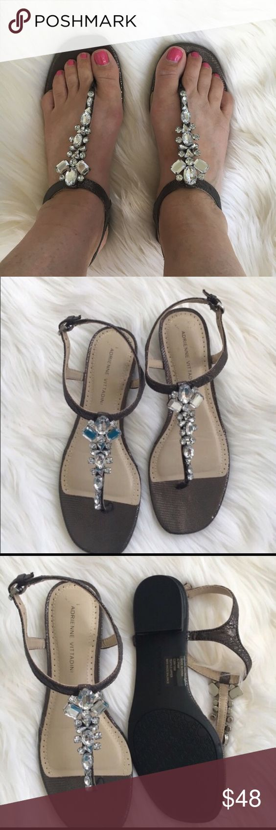 Adrienne Vittadini jeweled sandals   NWOT Rhinestone sandals with pewter leather uppers and man made soles. New!    NWOT Adrienne Vittadini Shoes Sandals
