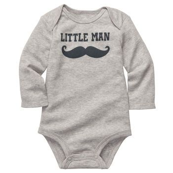 """Little Man"" mustache bodysuit for baby! #carters"
