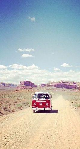 Open road + VW van.