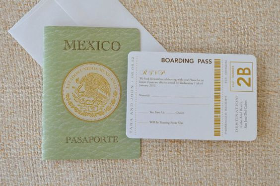 Mexican Crest Passport Wedding Invitation (San Jose Del Cabos, Mexico) - Design Fee. $50.00, via Etsy.