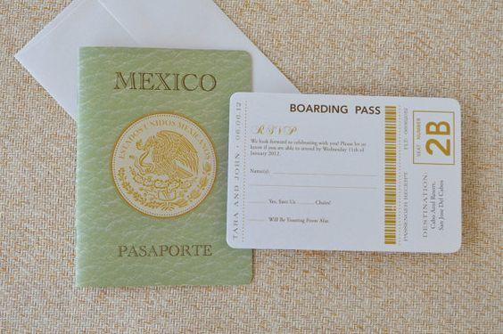 Mexican Crest Passport Wedding Invitation (San Jose Del Cabos, Mexico) - Design Fee. $50.00, via Etsy.