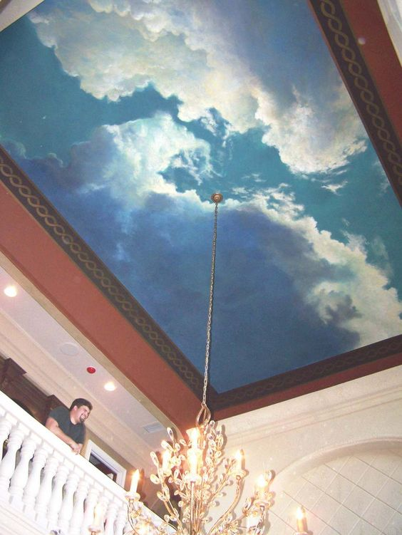 Image detail for clouds ceiling murals pinterest for Ceiling cloud mural