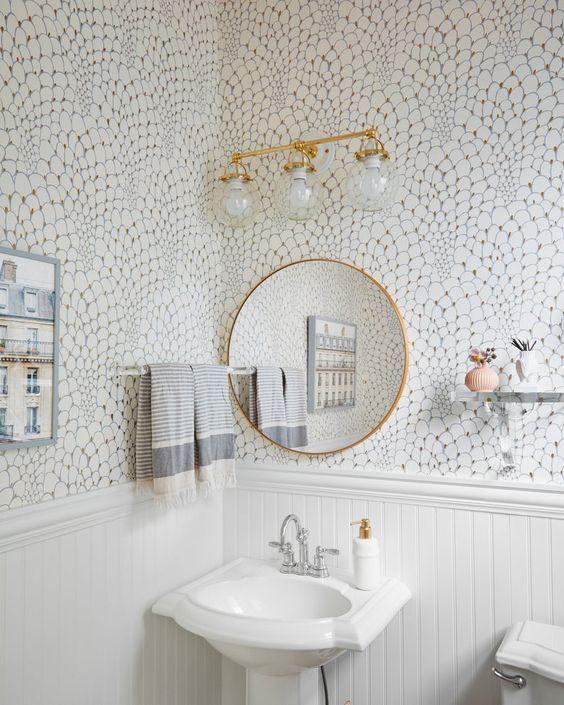 Peacock Gold Wallpaper In 2021 Powder Room Wallpaper Bathroom Wallpaper Room Wallpaper Bathroom tile over wallpaper