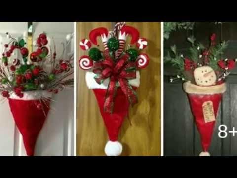 Ideas Gorras De Santa Para Decorar Puertasnavidad 2018