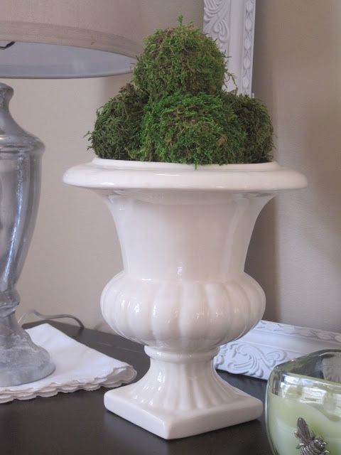 Moss balls...perfect for Spring!  Check out blog for tutorial (http://decoratedchaos.blogspot.com)