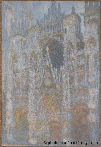 Claude Monet La cathédrale de Rouen. Le portail, soleil matinal en 1893 huile sur toile H. 0.922 ; L. 0.63 musée d'Orsay, Paris, France ©pho...