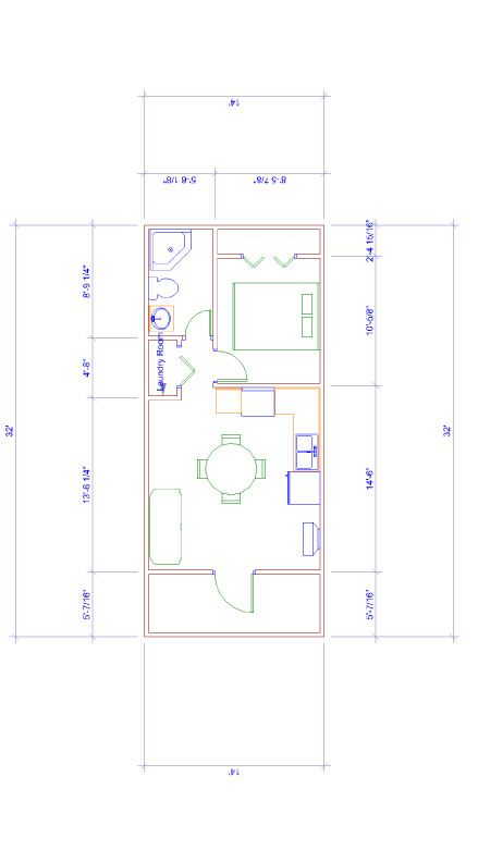 14x32 floor plan for turning large shed into a camp or