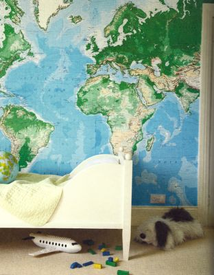Map of the world as wallpaper for a children's room.  Could we do this in primary crazy colors instead?