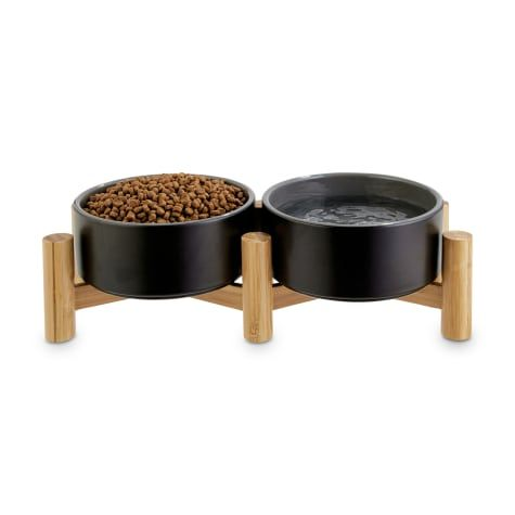 Reddy Black Ceramic Bamboo Elevated Double Diner Pet Bowl 3 5 Cups In 2020 Pet Bowls Elevated Dog Bowls Ceramics