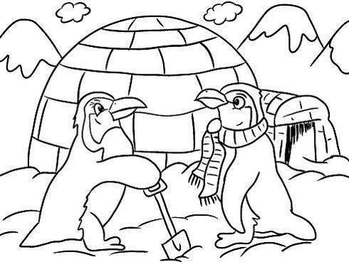Penguins Building Igloo Cartoon Coloring Winter Themed Page Penguin Coloring Pages Animal Coloring Pages Penguin Coloring