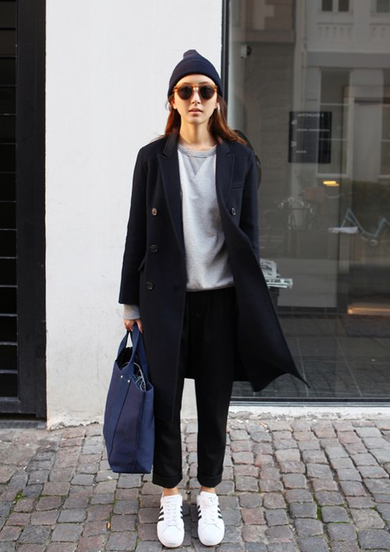 In love with monotone as of late. Comfy sneakers too. #casual #chic: