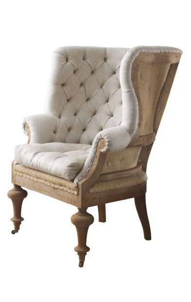 A deconstructed French Country wing chair! Fontaine wingback arm chair