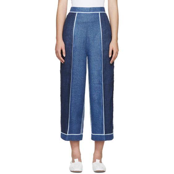 Acne Studios Blue Linen Odette Trousers (€665) ❤ liked on Polyvore featuring pants, linen pants, wide leg trousers, blue trousers, acne studios and blue wide leg pants
