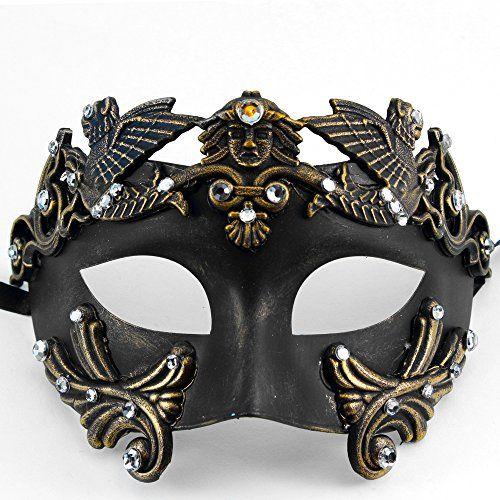 Gold King Emperor Venetian Couple Masquerade Mask Set Black Feather Mask Costume