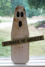 DIY:  Ironing Board Ghost - made from a vintage child's ironing board. Clever!!!