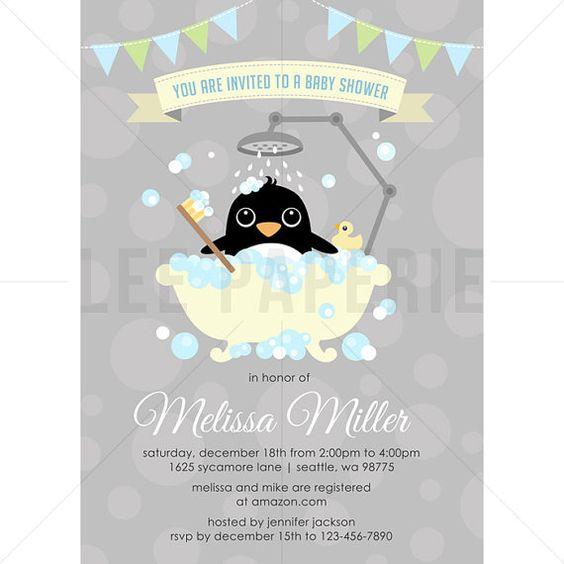 BSB016  Penguin Baby Shower Invitation  Boy Penguin by LeePaperie
