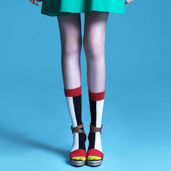 Estelle Block Mid Calf Off White  by Da-Sein Socks