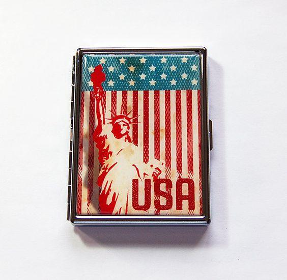 USA Cigarette Case, Statue of Liberty, Cigarette Holder, Cigarette box, Stars…
