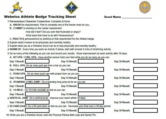 Printables Cub Scout Worksheets webelos fitness badge worksheet athlete individual worksheets