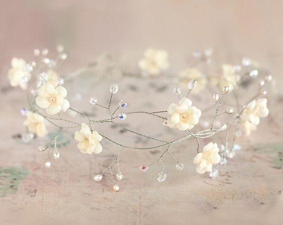 Bridal tiara, wedding tiara, wedding flower crown, vine tiara, headpiece, headband, bridal hair accessories, pearls, Hair Wreaths