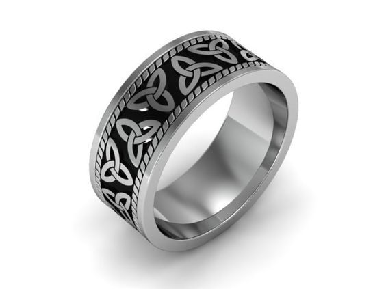 Mens Celtic Wedding Band 14k White Gold With Black Antiquing Triquetra Trin
