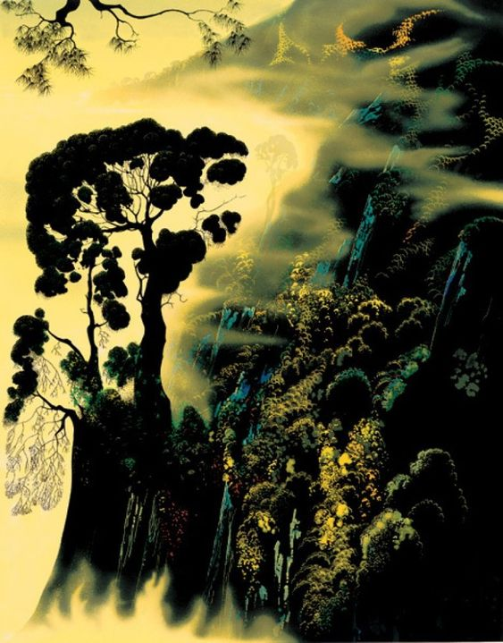Sunset Silhouette 1999 by Eyvind Earle