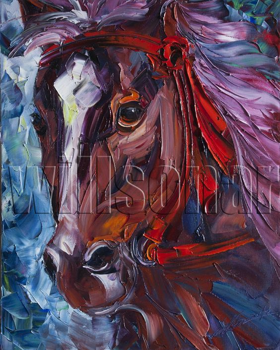 Horse Oil Painting #Horse Head Portrait #Canvas #Painting ...