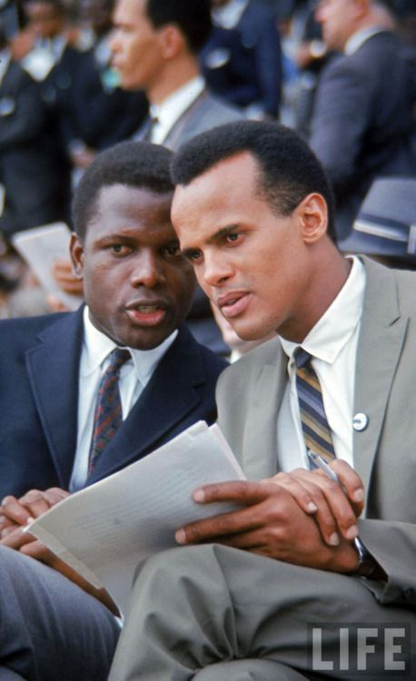 Sidney Poitier and Harry Belafonte, Washington, D.C., 1963. @Kathleen Heiser via Barbara Alexander // Islands / French / African / American / White / Black / Actor - Entertainer