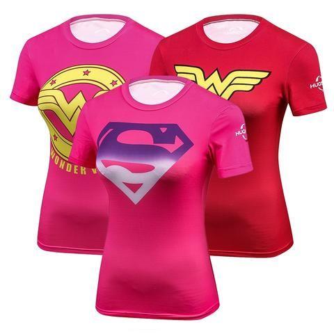 Women Superhero Superman Captain America T Shirt The New Adventures Dc Shirts Female Armor Shield Compres Superman T Shirt Womens Shirts Captain America Tshirt