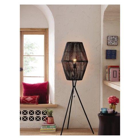 Rattan Diamond Tripod Floor Lamp Black Opalhouse Target Black Tripod Floor Lamp Black Floor Lamp Tripod Floor Lamps