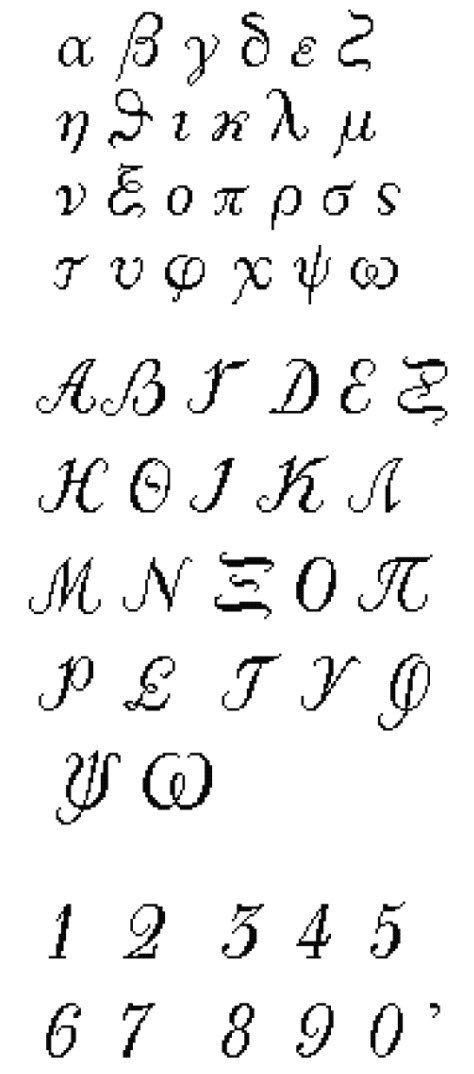Greek alphabet calligraphy counted cross stitch pattern