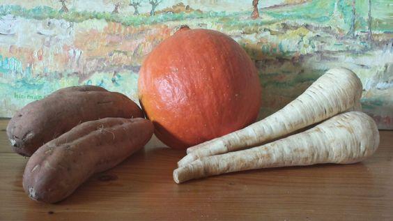 Frietjes van zoete aardappel, knolselderij en pastinaak