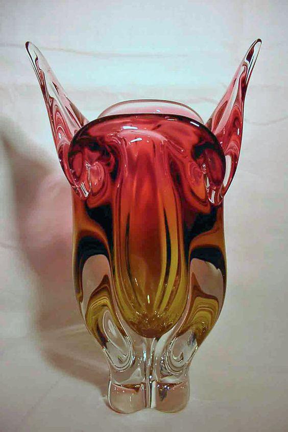 Murano Glasvase Farbverlauf rot gelb (Ref 1317)