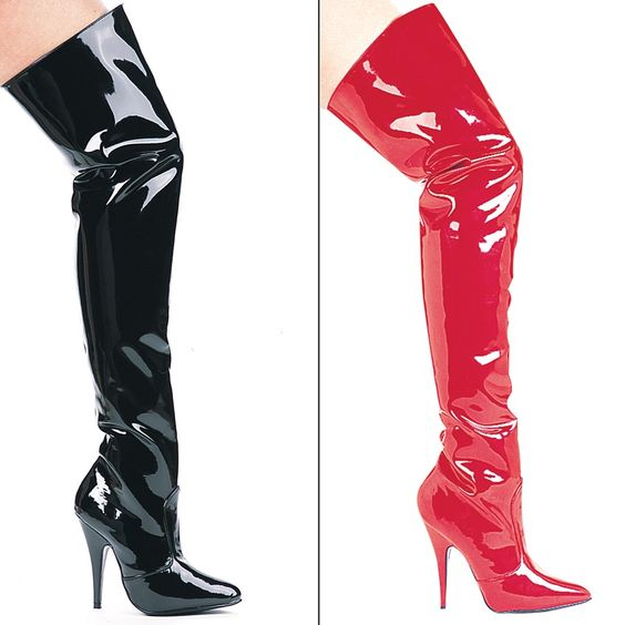 Black and Red Thigh High Vinyl Boots #boots #sexyboots #womanboots ...