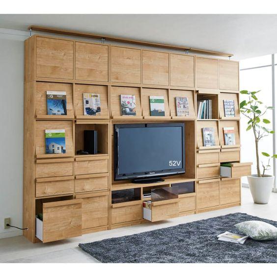 天然木調 飾る壁面収納 テレビ台 幅143cm 通販 - ディノス