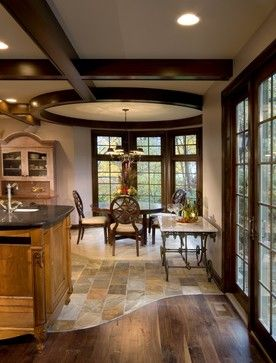 Transition from tile to wood design ideas pictures for Flooring transition from kitchen to family room