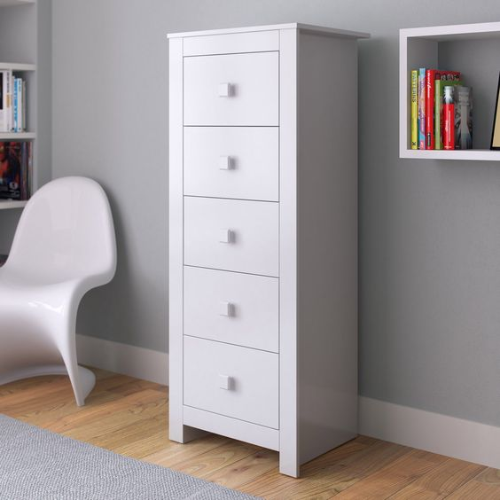 CorLiving Madison Tall Boy 5 Drawer Chest - Small bedrooms can often mean little space for storage. But the CorLiving Madison Tall Boy Chest of Drawers stacks high for plenty of room to keep clo...